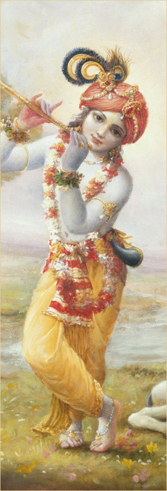 """Dear Kṛṣṇa, we have simply been captivated by seeing You with tilaka and with earrings and by seeing Your beautiful face covered with scattered hair and Your extraordinary smile. Not only that, but we are also attracted by Your arms, which always give assurance to the surrendered souls. And although we are also attracted by Your chest, which is always embraced by the goddess of fortune, we do not wish to take her position. We shall simply be satisfied by being Your maidservants."
