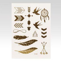 Metalické tetování Feather zlaté