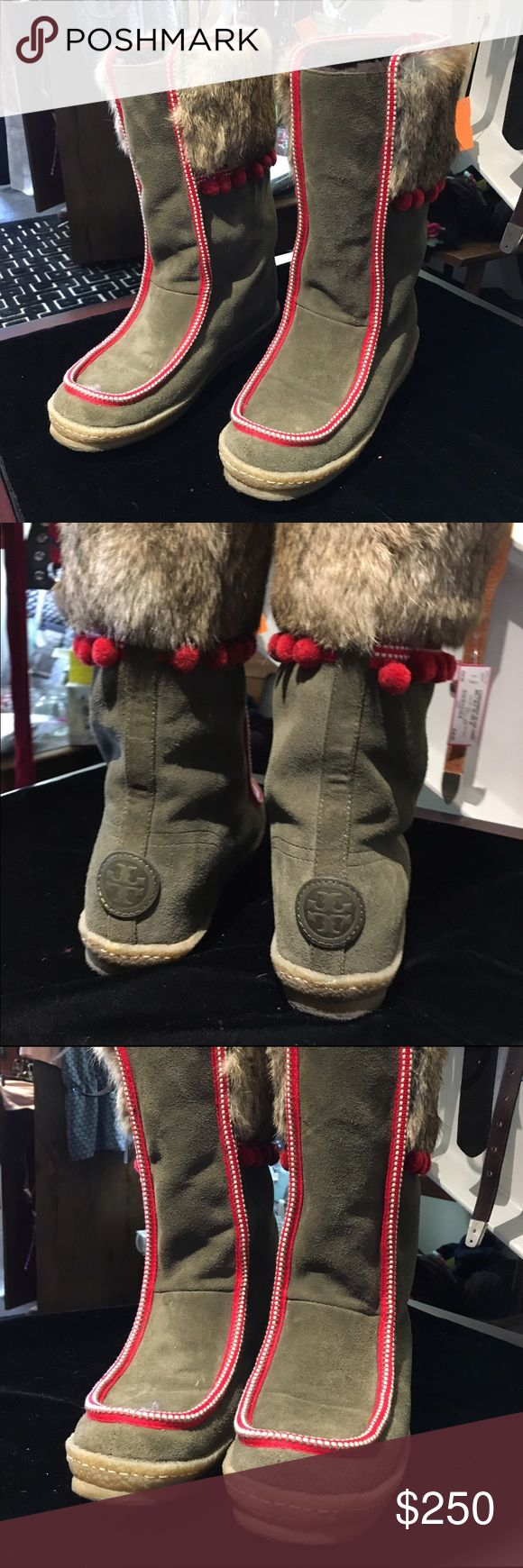 Tory Burch Rabbit & Lamb Ski Boots Pom-Pom Trim Like new Tory Burch Shoes Winter & Rain Boots
