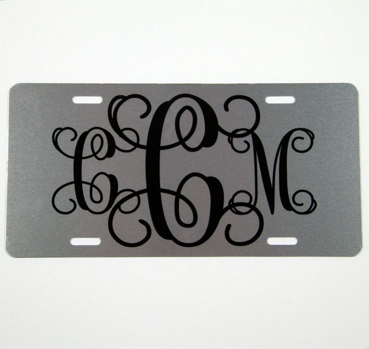 Silver Metallic License Plate Metallic Finish Personalized Monogram Custom Monogrammed Gift Cute Car Accessories Car Tag Car Tags Custom by ChicMonogram on Etsy