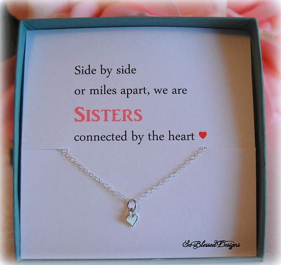 Sister Gift Tiny Heart Necklace Big Sister Gift for Sisters Birthday Big Sister Little sister gift $19