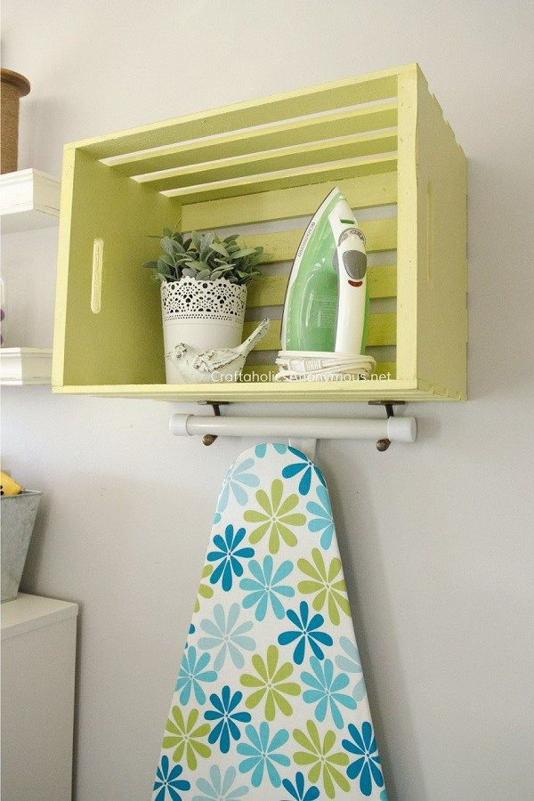 Tutorial: Wood crate ironing station I may not ever use my iron in my laundry room, but I'm always using it in my sewing room. Here's a smart idea from Craftaholics Anonymous for storing your iron and