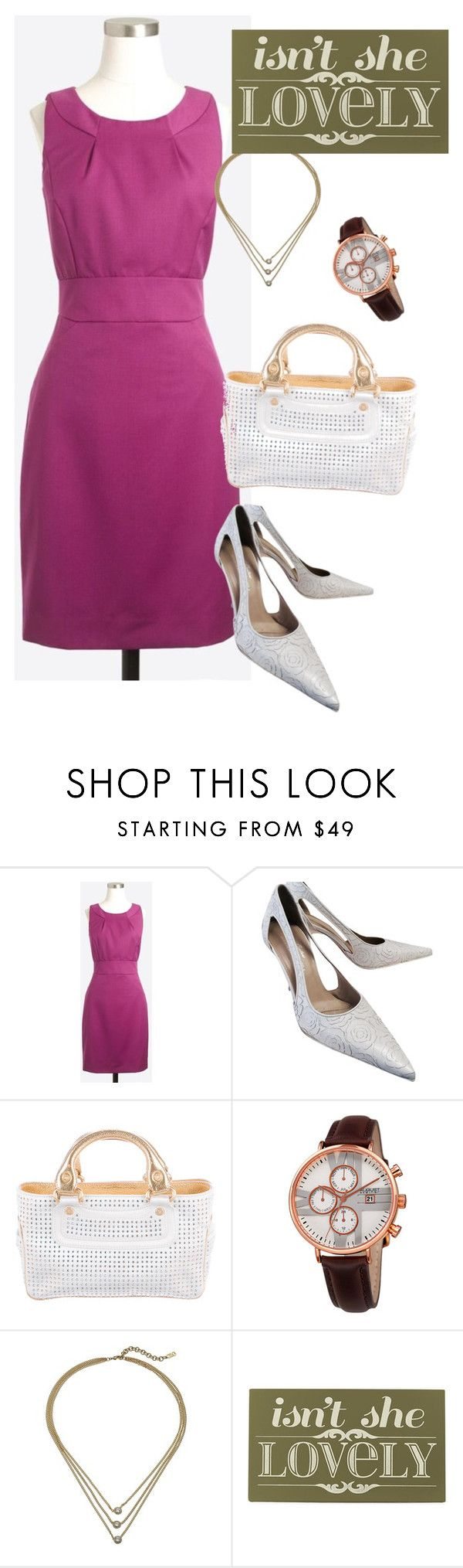"""""""dress"""" by masayuki4499 ❤ liked on Polyvore featuring J.Crew, Donald J Pliner, CÉLINE, August Steiner, Cole Haan and Home Decorators Collection"""