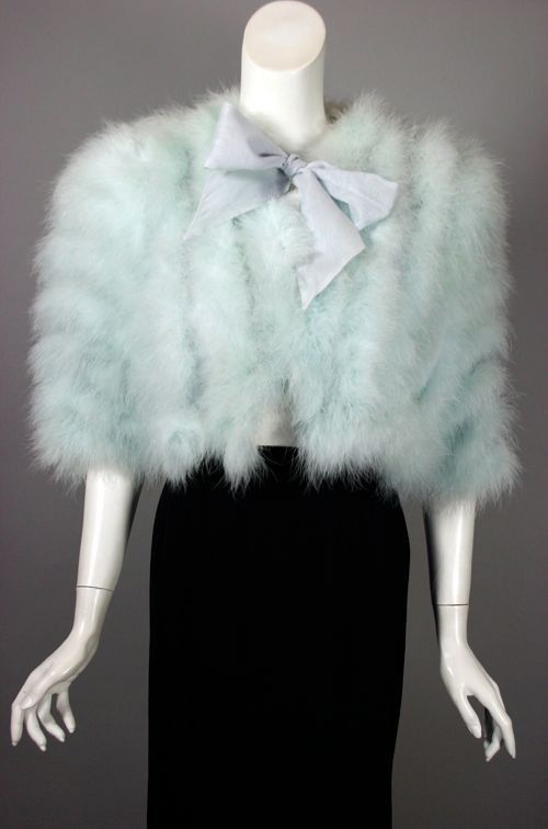 SOLD Blue marabou feathers 1940s evening wrap bed jacket from Viva Vintage Clothing