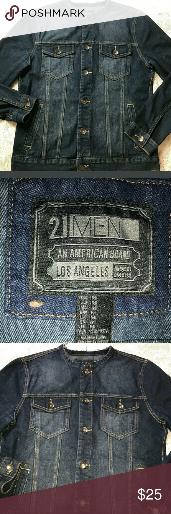 Forever 21 jean jacket denim dark wash distressed Mens medium forever 21 dark wash kean jacket with sick distressed collar. Bought new never wore it. No tags attached. 24 inches pit to pit and 26 in length from the top of the shoulder to the bottom of the jacket. 21men Jackets & Coats
