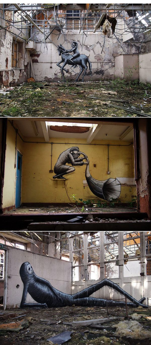 An abandoned school in Sheffield, UK, decorated with street art by Phlegm.