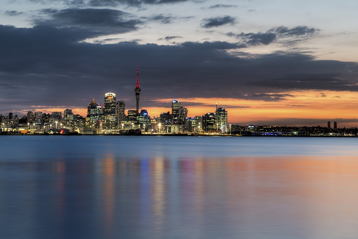 "Auckland Afterglow - I listened to a talk by the famous Ken Duncan. He was asked what his secret was and Ken said ""I watch all the other photographers pack up and then wait for the best light""… Sometimes, it can be 30 or 40 minutes after sunset, and an afterglow will appear…"