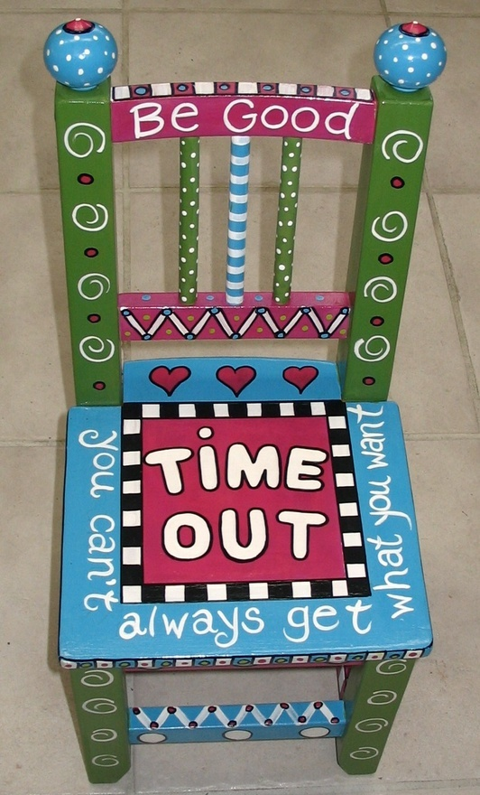 Time Out Chair. Would change the words but the idea...hmmm