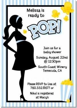 Ready To Pop Blue - Baby Shower Invitations ... I've seen others, but these are SO reasonable! <3 @Candles & Favors