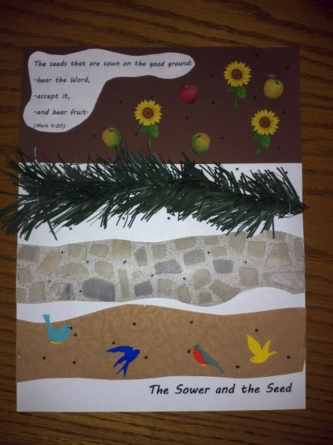"The Parable of the Sower and the Seed - Mark 4 - Sunday School Craft for Kids (I got the stones as a piece of wallpaper and the ""thorns"" from Christmas Garland.  I also was going to add a sun sticker to the rocks.)"