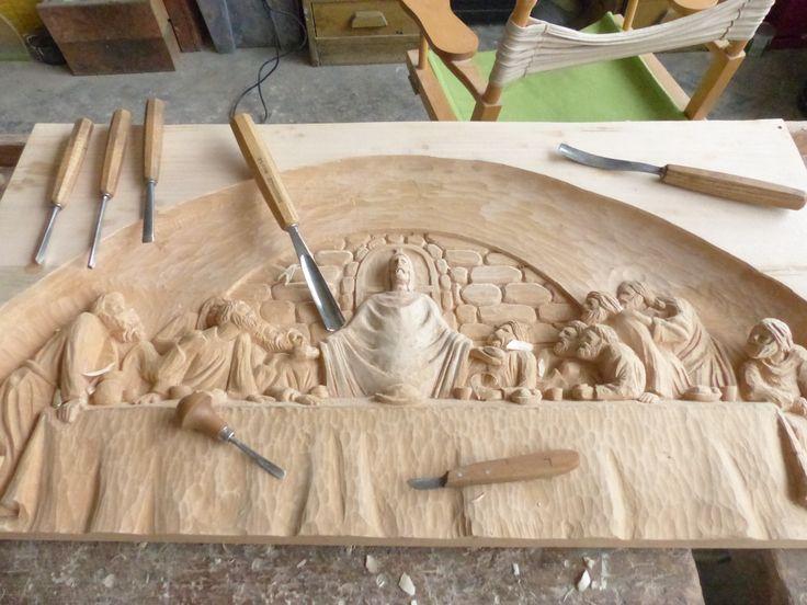 Poslední večeře- reliéf ve dřevě / Last dinner- relief in wood dinner
