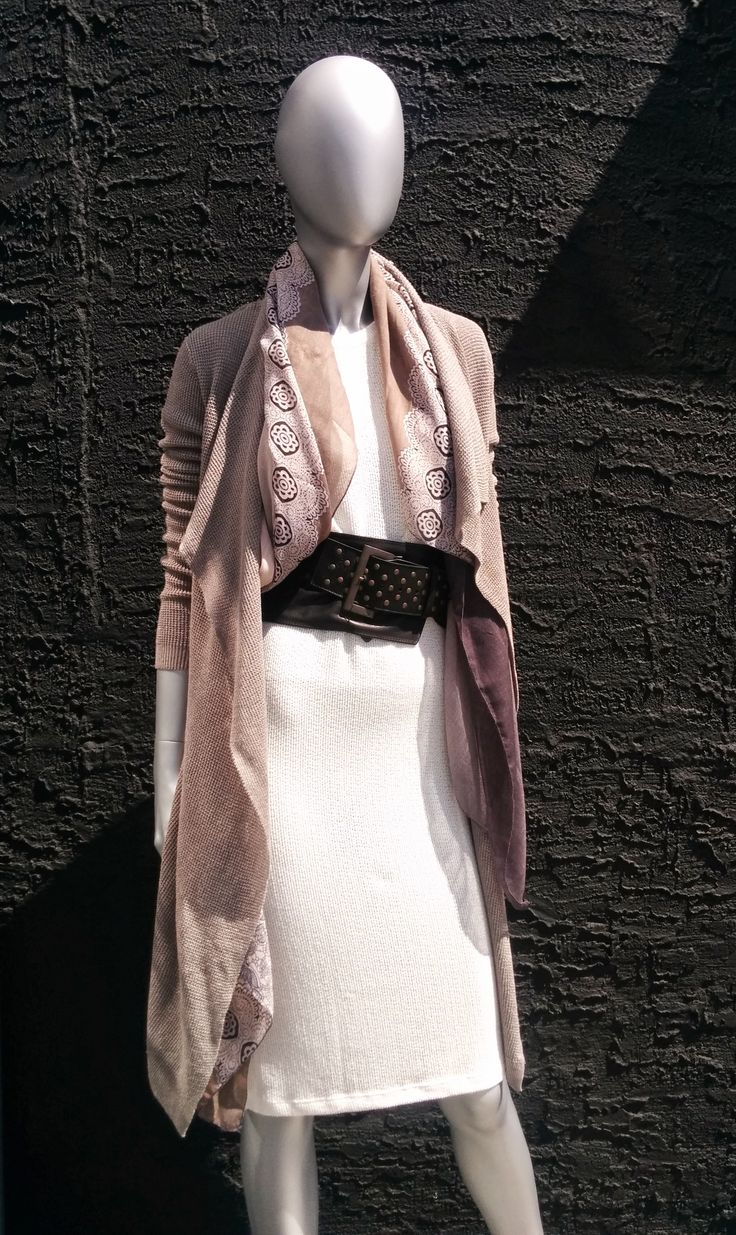 Tropez Dress by LNA and Baroness Cardigan by Line Knitwear paired with a belt by NÖR and  a scarf by Pretty Persuasions