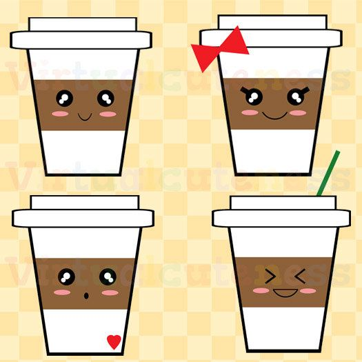 Starbucks Coffee Clip Art - Espresso Clipart, Hot Chocolate, Latte, Cute Clipart, Happy Coffee Cups, Coffee, Chibi, Free Commercial and Personal Use