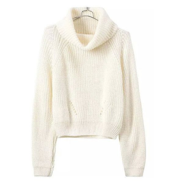 Turtleneck Crop Beige Sweater ($31) ❤ liked on Polyvore featuring tops, sweaters, long sleeves, white crop top, white long sleeve top, cropped turtleneck sweater, turtle neck sweater and cropped sweater