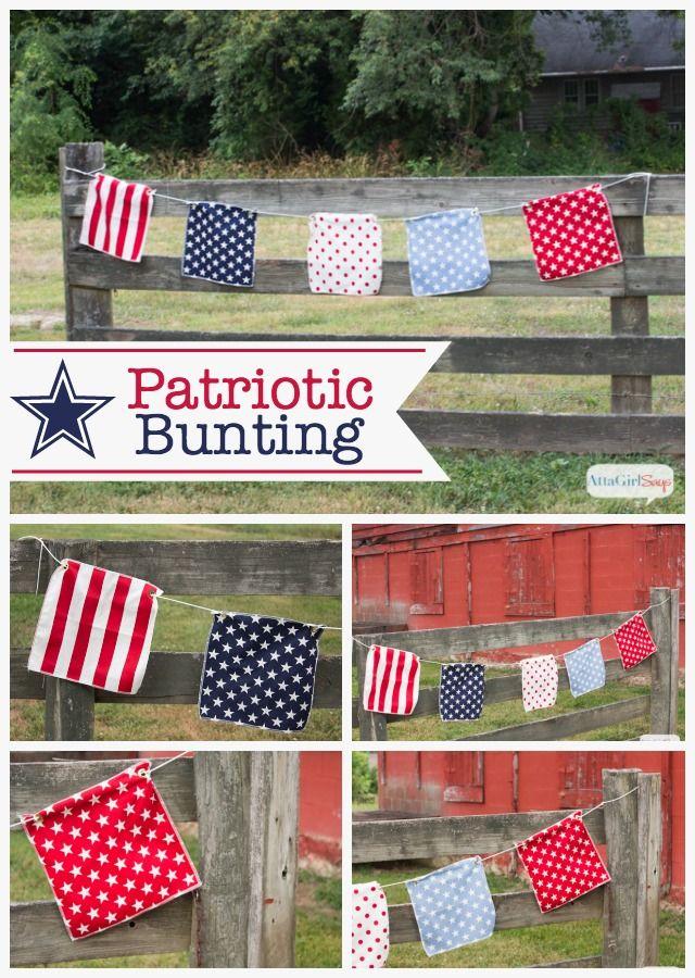 Easy DIY Patriotic Bunting: Make one in 5 minutes or less!