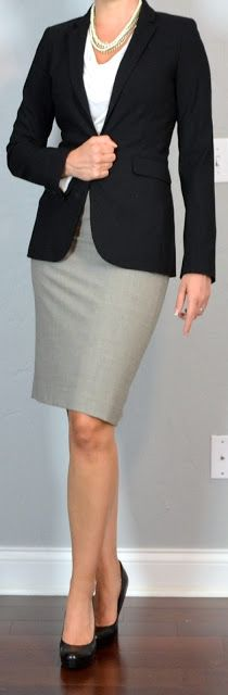 Office Classic >>> Outfit Posts: outfit post: grey pencil skirt, white cowl neck blouse, black suit jacket, black pumps