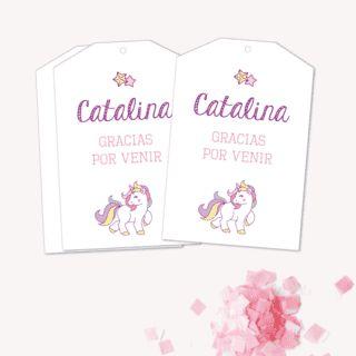Tarjetita Gracias por venir - Fiesta Unicornios - Mirá todos los kits para imprimir en www.cumplekits.com