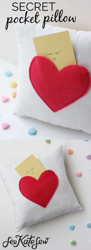 Secret Pocket Pillow For Valentines Day Love Notes Pillow Secret Pocket Pillow Tutorial How To Make A Pillow Valentines Day Ideas Handmade