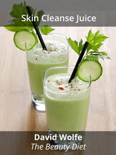 Skin Cleanse Juice by David Wolfe  1/2 - 1 head of celery 1 - 2 cucumbers 1 lemon Handful of parsley Handful of alfalfa sprouts Handful of spinach 4 sprigs mint leaves 2 - 4 ounces silica