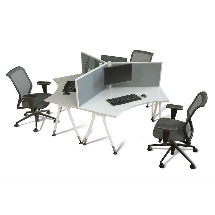 Vee 3 way office workstation cluster. 120 degree worktops custom designed and finished.  Endo Office Furniture.