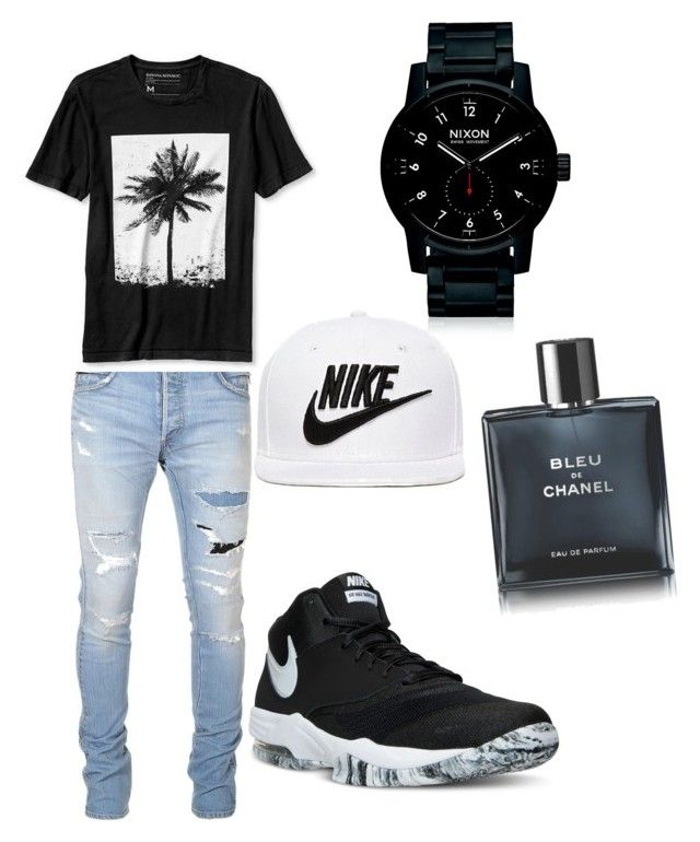 """Untitled #9"" by ooandreajw on Polyvore featuring Balmain, Banana Republic, NIKE, Nixon, Chanel, men's fashion and menswear"