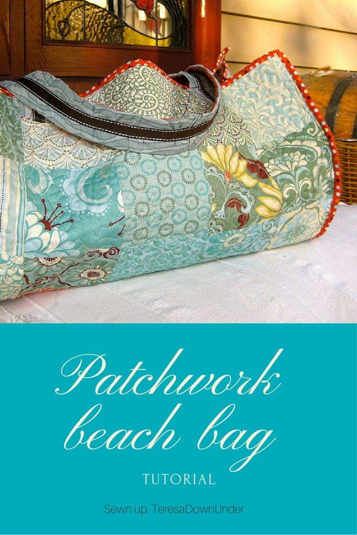 Patchwork beach bag using 5 inch charm squares