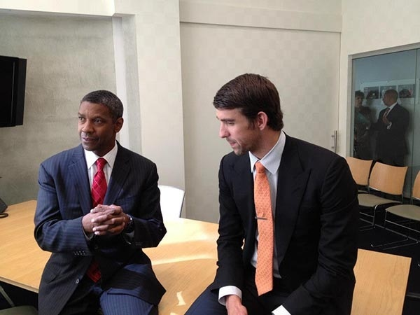 Denzel Washington and Michael Phelps looked sharp at the Congressional Breakfast for the Boys & Girls Club of America where Denzel Washington presented Michael Phelps with the 2012 Champion Of Youth Award. Nice!