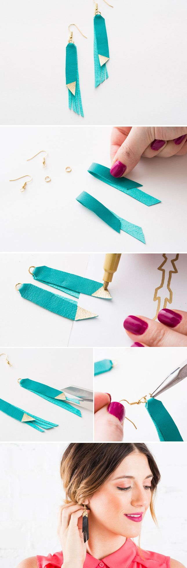 awesome Make your own leather fringe jewelry with this kit. Buy it here: go.brit.co/1zQF...