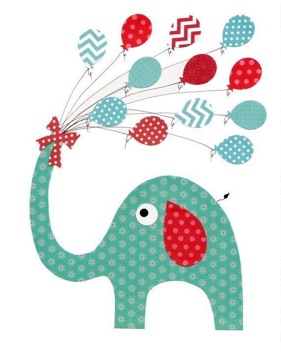 Elefante azul y rojo vivero ilustraciones Print / /