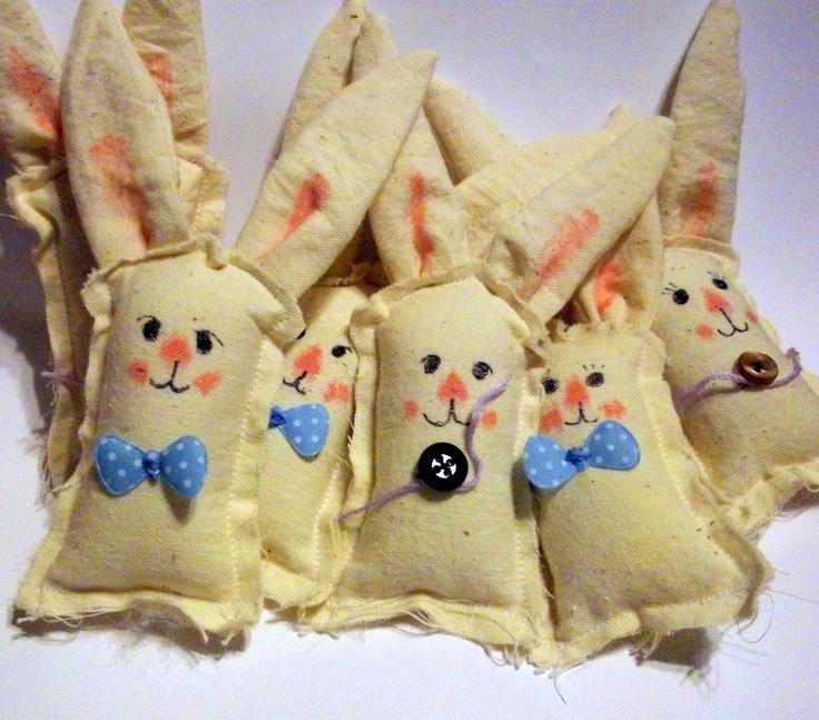 Primitive Bunny Ornaments 2 Bunnies Easter Spring Ostara $6.00