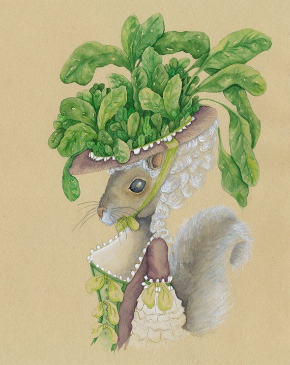 French Animal Alphabet E Is For Ecureuil Et Les Epinards Squirrel And Spinach Painting Vegetable Decor Woodland Animals Rustic Squirrel Gift Products Squir