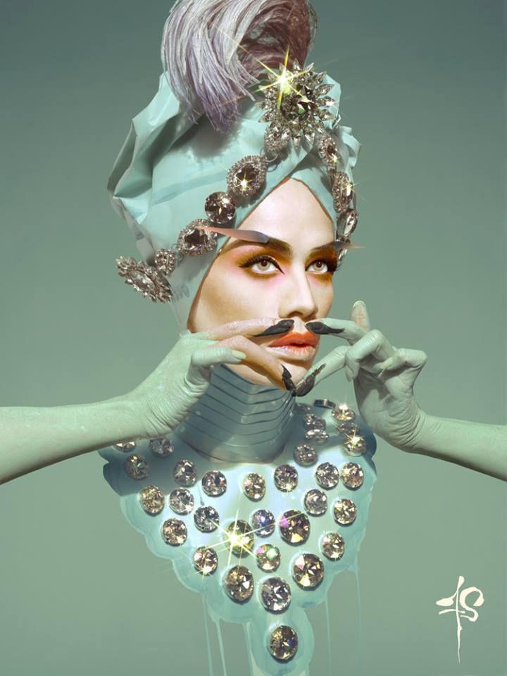 """Raja Gemini as """"The Maharaja"""" by artist Franz Szoni. Using paper, Swarovski Jewels and Paint."""