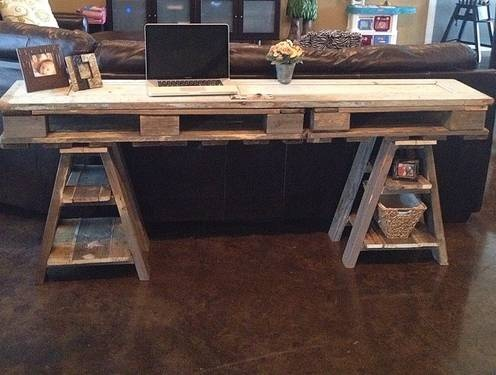 Reclaimed Wood Distressed Table Desk From Pallets And A Vintage