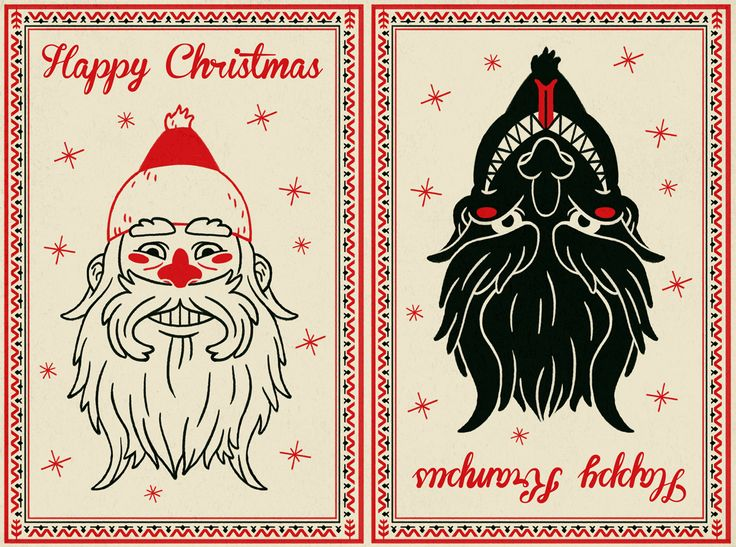 kringle and krampus   The card is meant to be folded in half where you choose the front, and ...
