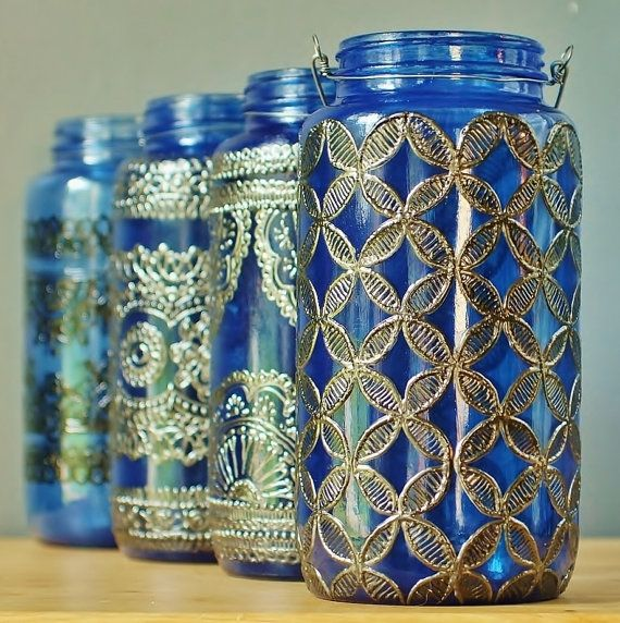 Large 32 oz jar Moroccan Lantern, Sapphire Blue Glass with Dark Pewter Accents
