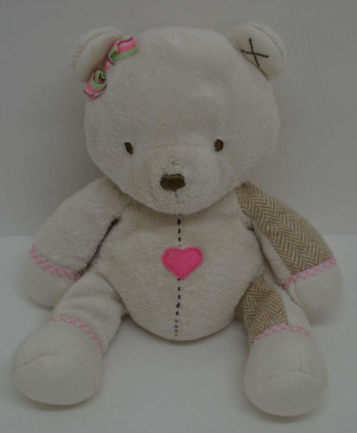 """Carters Teddy Bear Plush Cream Pink Heart Bow Tweed Arms Legs Bean Bag 11"""" #Carters http://stores.ebay.com/Lost-Loves-Toy-Chest/_i.html?image2.x=0&image2.y=0&_nkw=carters"""