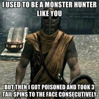 Skyrim x Monster Hunter meme