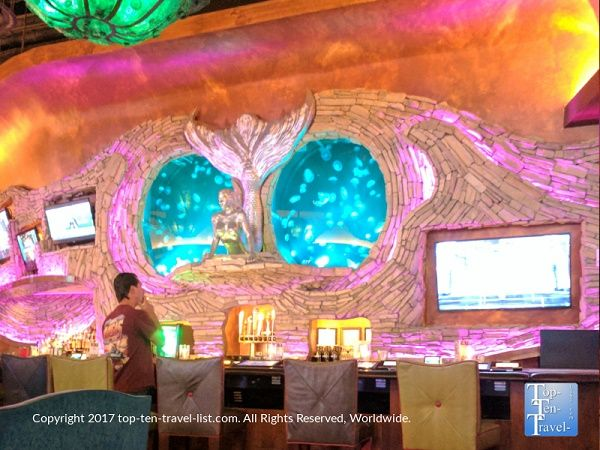 A colorful bar with jellyfish tanks at the Mermaid Restaurant at the Silverton Casino in Las Vegas.