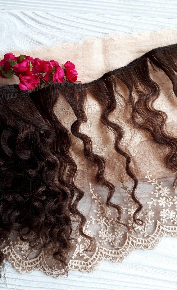 Mohair weft wavy dark brown, doll hair, doll making