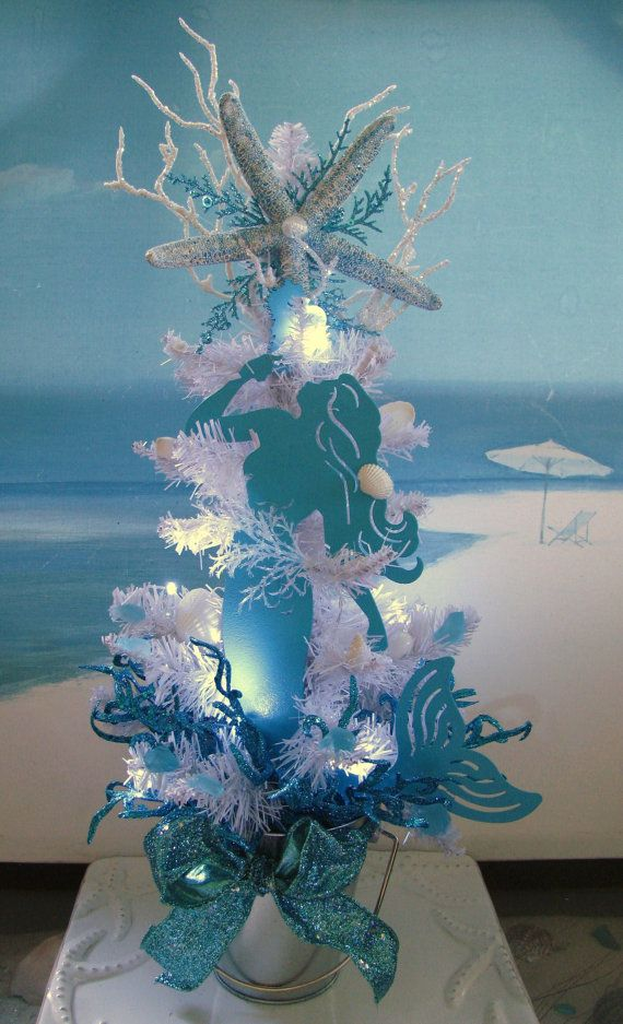Mermaid Seashell White Christmas Tree~designed by CeShoreTreasures~~