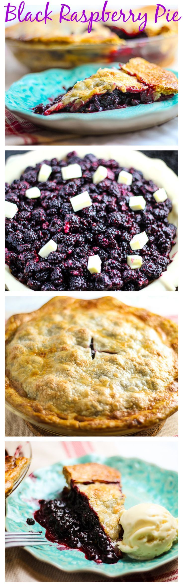 Black raspberries in this luscious black raspberry pie make this a tart and sweet dessert that's super simple to make too.