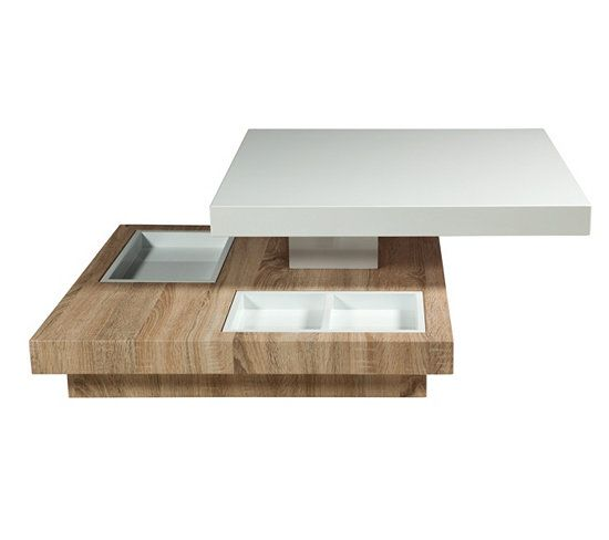 Table basse pivotante turn ch ne et blanc laqu tables - Table basse blanche et bois ...