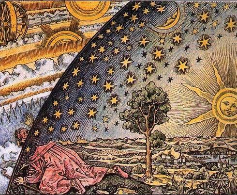 Un uomo medievale immagina di vedere cosa c'è al di là dell'Universo - Camille Flammarion - Astronomie 1  ( 1888 ).