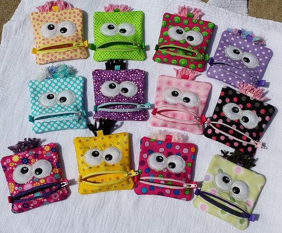 12 party favors monster zipper pouch 6 monster bags by Kntry5, $84.00
