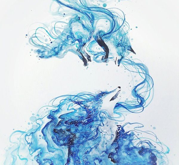 カラフルで幻想的な野生動物たちの水彩画 (21)