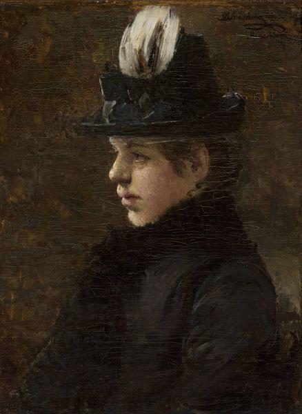 Studium dziewczyny w kapeluszu z piórkiem - Olga Boznańska