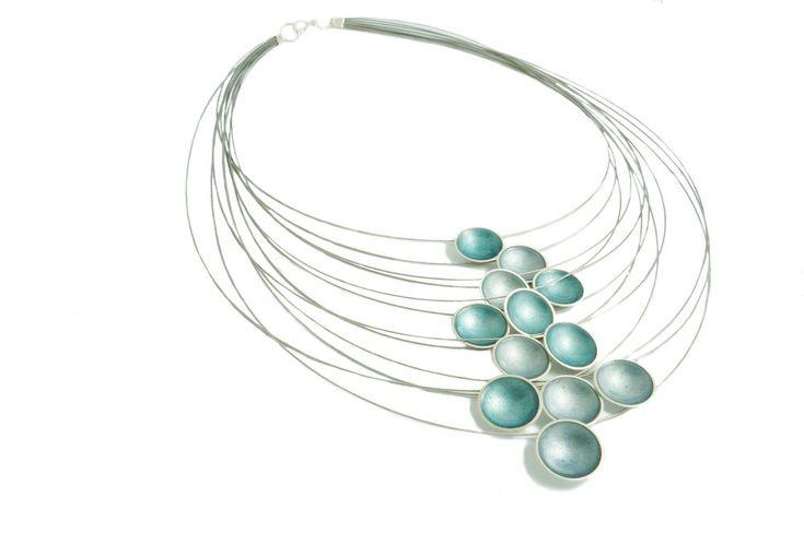 Multi Strand Enamel Disc Necklace by Kokkino