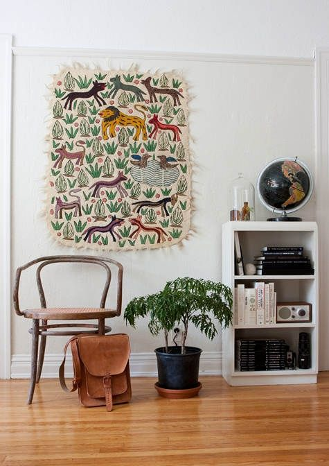 Blue Rugs Animal Printed Wall Hanging via designsponge Funky Wall Hanging via stylebyemilyhenderson Geometric Rug on the Wall via rstyle Lovely Tribal Tapestry via