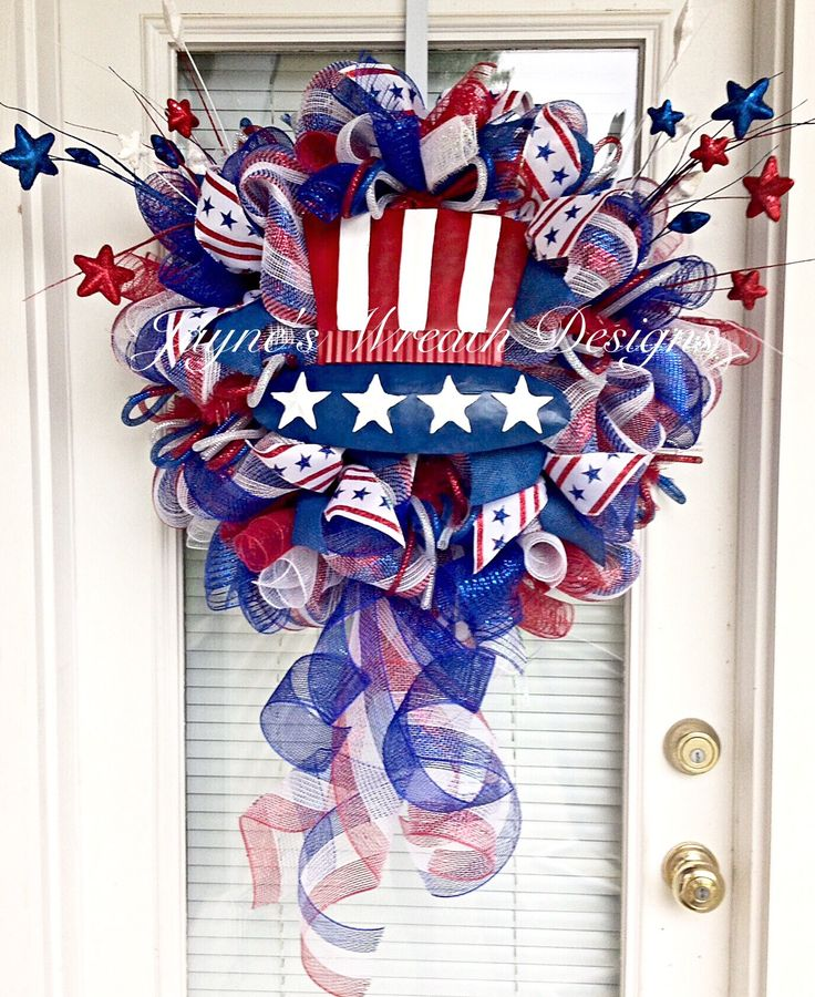 Patriotic Deco Mesh Wreath - Great for Memorial Day and The 4 of July. Independence Day. Red, White, and Blue.