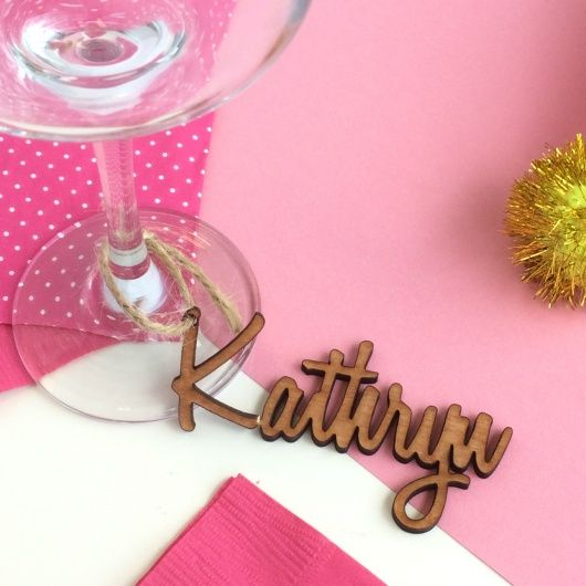 Wedding Wine Charm Name.  Never forget whose wine glass is whose with this quirky personalised wooden wine name charms. These make great, fun items for any party or get together but particularly as wedding favours which your guests can take away.